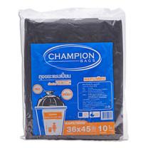 แชมเปี้ยน ถุงขยะสีดำหนา 36x45 นิ้ว. แพ็กละ 10 ใบ.