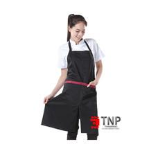 เอโร่ ผ้ากันเปื้อนเต็มตัวสีดำแถบแดง 1 ชิ้น