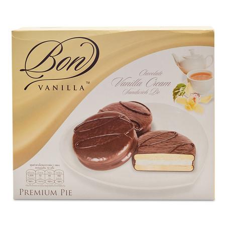 บอน ช็อกโกแลตพาย สอดไส้วนิลา ขนาด 20 กรัม (12 ชิ้น)