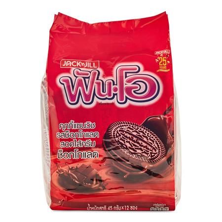 ฟันโอ คุกกี้ไส้ช็อกโกแลต ขนาด 45 ก. ถุงละ 12 ห่อ.