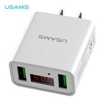 อะแดปเตอร์ (US) USAMS รุ่น US-CC042 Dual USB Led display travel charger - White