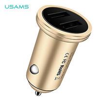 ที่ชาร์จโทรศัพท์ในรถยนต์ USAMS รุ่น US-CC016 (3.1A Dual USB) - Gold