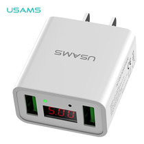 อะแดปเตอร์ (US) USAMS รุ่น US-CC042 Dual USB Led display travel charger - White