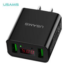อะแดปเตอร์ (US) USAMS รุ่น US-CC042 Dual USB Led display travel charger - Black