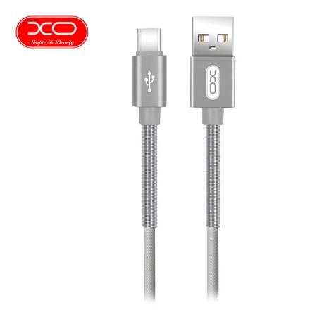 XO สายชาร์จ NB27 Spring Typc-C Cable ยาว 1 m - Silver