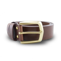 Brown Stone เข็มขัดหนังแท้รุ่น Milano Tan Belt Solid Brass Arrow Buckle Size 32