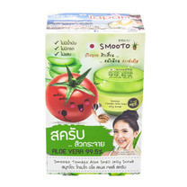 Smooto Tomato Aloe Snail Jelly Scrub 50 ก. (บรรจุ 4 ซอง)