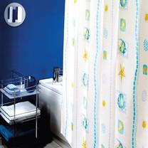 WSPม่านห้องน้ำเนื้อผ้าไนล่อน 100% พิมพ์ลาย ขนาด 180x180 ซม.ลาย SEA WAY