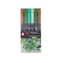 Sakura ชุดปากกาพู่กัน Koi 6 สี โทนสี Nature