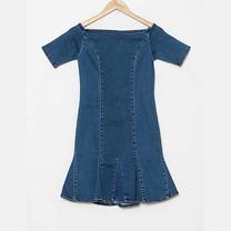 BJ Jeans Dress Off-shoulder Short-sleeve Denim Size L
