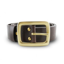 Brown Stone เข็มขัดหนังแท้รุ่น Milano Dark Brown Belt Solid Brass Rectangle Buckle Size 29
