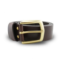Brown Stone เข็มขัดหนังแท้รุ่น Milano Dark Brown Belt Solid Brass Arrow Buckle Size 39