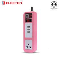ELECTON ชุดสายพ่วง ปลั๊กไฟ คุณภาพ A มอก. 1 เต้า 1 สวิตช์ 2 เมตร 3 USB 10A รุ่น EP-A102U3 สีชมพู