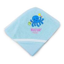 NATUR ผ้าขนหนูห่อตัวปักลาย สีฟ้า