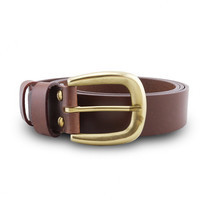 Brown Stone เข็มขัดหนังแท้รุ่น Milano Tan Narrow Belt Solid Brass Horseshoe Buckle Size 35