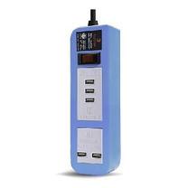 ELECTON สายพ่วง ปลั๊ก ULTRA FAST CHARGE USB X5 1 สวิตช์ 2 เมตร รุ่น EP-A02U5 สีฟ้า