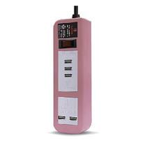 ELECTON สายพ่วง ปลั๊ก ULTRA FAST CHARGE USB X5 1 สวิตช์ 2 เมตร รุ่น EP-A02U5 สีชมพู
