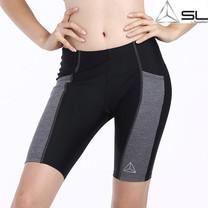 SL BY STREAMLINE กางเกงออกกำลังกายขาสั้น สีดำ แถบข้างสีเทา M