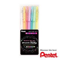 Pentel ชุดปากกาเจลสีพาสเทล Hybrid Milky 0.8 มม. (แพ็ก 7 ด้าม)