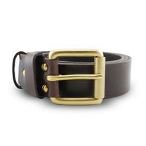 Brown Stone เข็มขัดหนังแท้รุ่น Milano Dark Brown Belt Solid Brass Roller Buckle Size 37