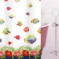 WSP ม่านห้องน้ำพลาสติก PEVA พิมพ์ลาย รุ่น Lightex ขนาด 180x180 ซม. ลาย Fish Land