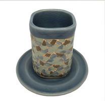 ChiangMai Celadon แก้ว ศิลาดลโมเสค ทรงสี่เหลี่ยม พร้อมจานรองเรียบ