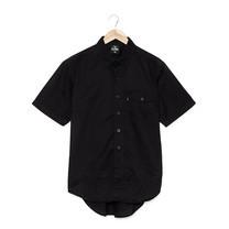 BJ JEANS Shirt BJWS-1119 #Solid-coloured Buttoned Flap Black Size M