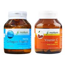 Morikami เซ็ต ประกอบด้วย Marine Collagen Peptide 30แคปซูล + Vitamin C Acerola Extract500 30แคปซูล