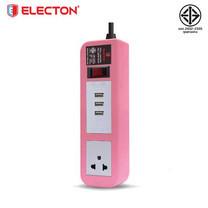 ELECTON ชุดสายพ่วง ปลั๊กไฟ คุณภาพ A มอก. 1 เต้า 1 สวิตช์ 5 เมตร 3 USB 10A รุ่น EP-A105U3 สีชมพู