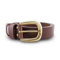 Brown Stone เข็มขัดหนังแท้รุ่น Milano Tan Narrow Belt Solid Brass Horseshoe Buckle Size 34