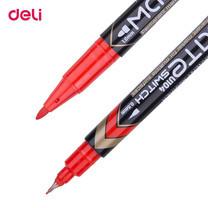 Deli ปากกามาร์คเกอร์ 2 หัว เขียนแผ่นซีดี (12ด้ามในกล่อง) สีแดง