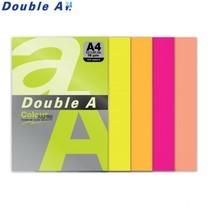 Double A กระดาษสี A4 หนา 75 แกรม (แพ็ก 100 แผ่น) คละ 5 สีนีออน