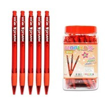 Maples 334 ปากกาลูกลื่นแบบกด 0.5 มม. (50 ด้าม/กระปุก) สีแดง