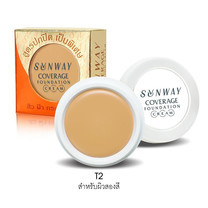 Sunway Coverage Foundation Cream T2 สำหรับผิวสองสี 8 ก.