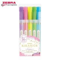 Zebra Kirarich ปากกาเน้นข้อความกากเพชร 5 สี (แพ็ก 5 ด้าม)