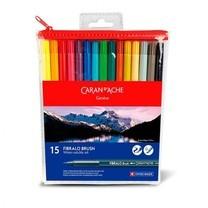 Caran D'Ache ชุดปากกาหัวพู่กันระบายน้ำ 15 สี