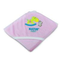 NATUR ผ้าขนหนูห่อตัวปักลาย สีชมพู