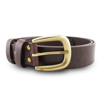 Brown Stone เข็มขัดหนังแท้รุ่น Milano Dark Brown Narrow Belt Solid Brass Horseshoe Buckle Size 32