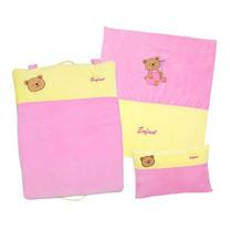 ENFANT ชุดผ้านวม+หมอนหนุน+เบาะนอนสีชมพู