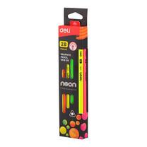 Deli ดินสอไม้ 2B รุ่นU51800 คละสีนีออน (12แท่ง)