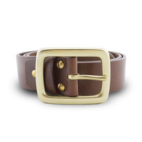 Brown Stone เข็มขัดหนังแท้รุ่น Milano Tan Belt Solid Brass Rectangle Buckle Size 31