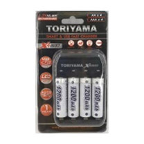 Toriyama แท่นชาร์จ + ถ่านชาร์จ รุ่น AA1200 แพ็ก 4