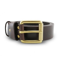 Brown Stone เข็มขัดหนังแท้รุ่น Milano Dark Brown Belt Solid Brass Roller Buckle Size 30