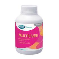 Mega We Care MULTILIVES ประกอบไปด้วยวิตามิน และสารอาหารทั้งหมด 26 ชนิด บรรจุ 30 แคปซูล