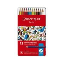 Caran D'Ache ชุดสีไม้ระบายน้ำ รุ่น School Line 12 สี กล่องโลหะ
