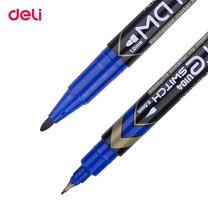 Deli ปากกามาร์คเกอร์ 2 หัว เขียนแผ่นซีดี (12ด้ามในกล่อง) สีน้ำเงิน