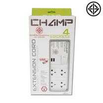 Champ ปลั๊กไฟเซฟตี้ 4 ช่อง / 1 สวิตซ์ / 2 USB / 3 ม. รุ่น CT-TIS 341-2u/3 m