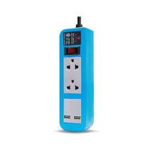 ELECTON สายพ่วง ปลั๊กไฟ คุณภาพ A มอก. 2 เต้า 1 สวิตช์ 5 เมตร 2 USB 10A รุ่น EP-A205U2 สีฟ้า