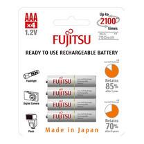 Fujitsu ถ่านชาร์จ HR-4UTCEX(4B) ขนาด AAA Pack 4 White Standard Capacity min 750mAh.