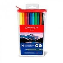 Caran D'Ache ชุดปากกาหัวพู่กันระบายน้ำ 10 สี